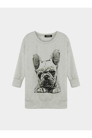 YOINS Women Sweatshirts - Bulldog Print Sweatshirt in Grey