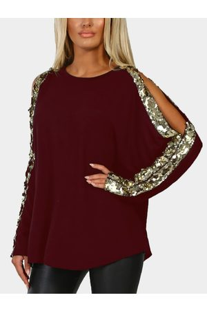 YOINS Round Neck Long Sleeved with Cutout Gloss Sequins Top