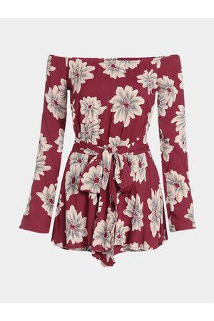 YOINS Red Random Floral Print Off-shoulder Waist Belt Playsuit