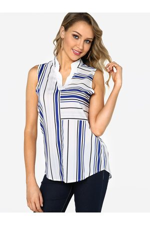 YOINS Stripe Lapel Collar Sleeveless Camis & Vests