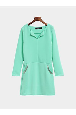 YOINS Green V-neck Long Sleeves Bodycon Dress with Pockets