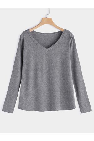 YOINS Plain Deep V Neck Long Sleeves Loose Fit T-shirts