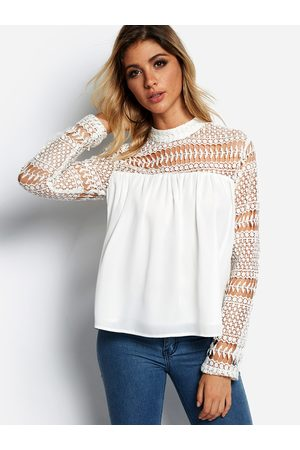 YOINS Hollow Design Crew Neck Long Sleeves Lace Insert Blouse