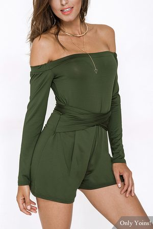 YOINS Army Off The Shoulder Long Sleeves Playsuit with Lace-up Design