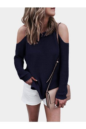 YOINS Cold shoulder Long Sleeves Knitwear with Side Slit
