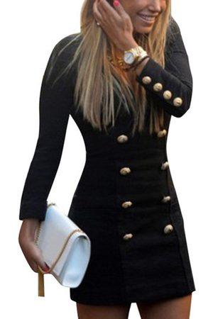 YOINS Fashion Long Sleeves Button Pencil Dress