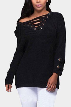YOINS Lace-up Front Long Raglan Sleeves Sweater Dress
