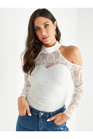 YOINS Lace Cold Shoulder Long Sleeves Tee