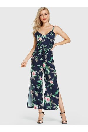 YOINS Random Floral Print Sleeveless Slit Hem Jumpsuit