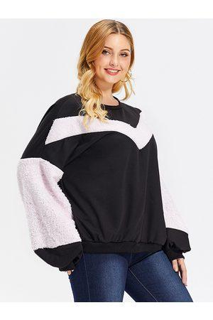 YOINS Women Sweatshirts - Plus Size Black Patchwork Round Neck Sweatshirt