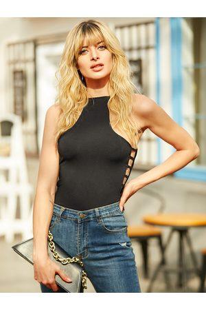 YOINS Black Cut Out Halter Sleeveless Bodysuit