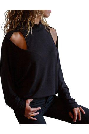 YOINS Women Long Sleeve - Cut Out Plain Perkins Collar Long Sleeves Tee
