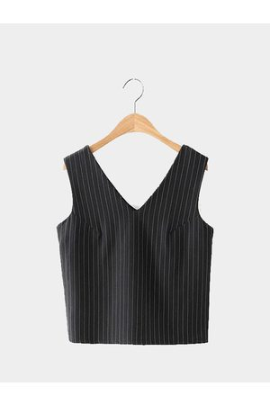 YOINS Women Crop Tops - V-neck Stripe Crop Top in