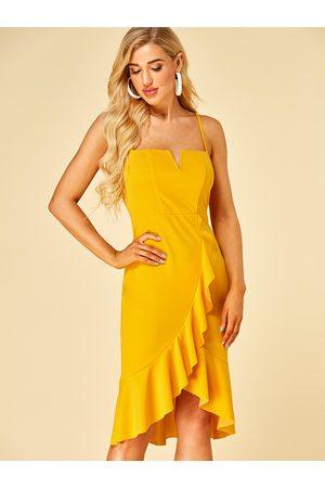 YOINS Adjustable Shoulder Straps Square Neck Sleeveless Dress