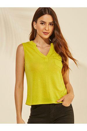 YOINS V-neck Glitter Pocket Design Vest