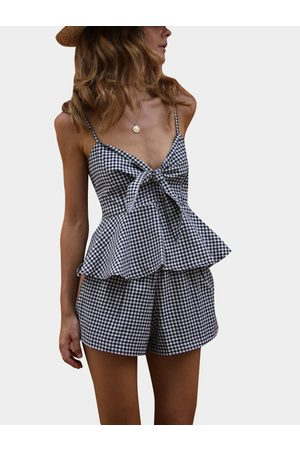 YOINS Deep V-neck Sleeveless Two Piece Outfits With Grid Pattern