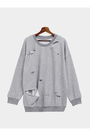 YOINS Plain Color Hollow Out Bat-wing Loose Sweatshirt