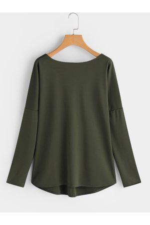 YOINS Army Green Crew Neck Long Sleeves Criss Cross Back T-shirt