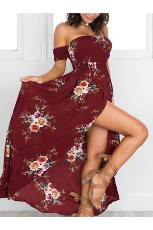 YOINS Women Printed Dresses - Random Floral Print Off The Shoulder Maxi Dress