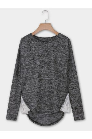 YOINS Dark Round Neck Long Sleeves Stitching Hem T-shirts