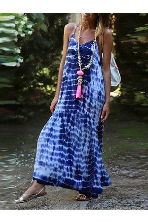 YOINS Women Maxi Dresses - Tie Dye V-neck Sleeveless Maxi Dress