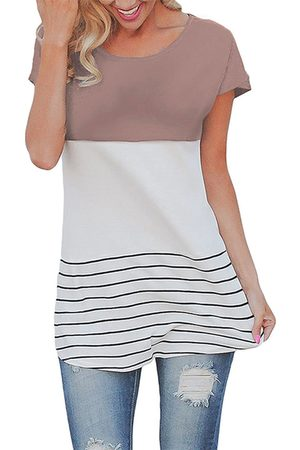 YOINS Contrast Color Stitching Stripe Pattern Top