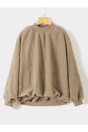 YOINS Women Sweatshirts - Plus Size Round Neck Teddy Sweatshirt