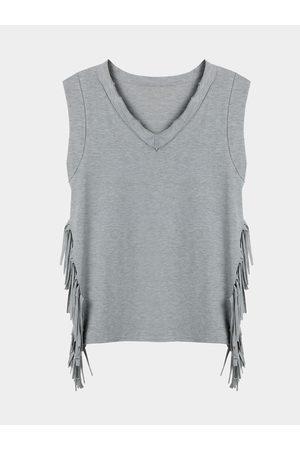 YOINS Grey V-neck Sleeveless Split Tassels Side Tank