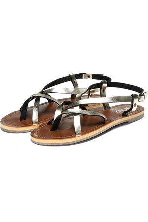 YOINS Gold Simple Strappy Flat Sandals