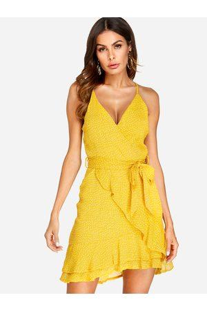 YOINS Belt Design Polka Dot V-neck Sleeveless Dress