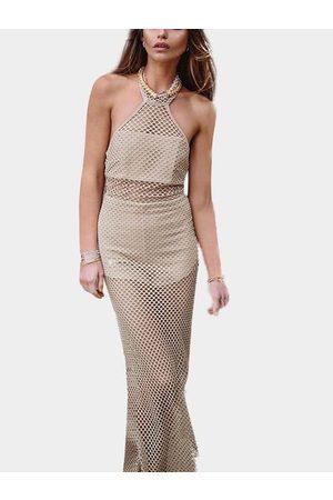 YOINS Apricot Halter Hollow Design Maxi Dress