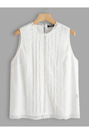 YOINS Women Tank Tops - Plus Size Crochet Lace Embellished Tank Top