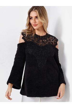 YOINS Lace Insert Plain Cold Shoulder Long Sleeves Woolen Sweatshirts