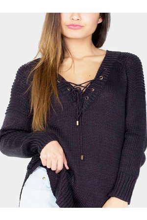 YOINS Women Jumpers - Sexy V-neck Front Lace-up Jumper