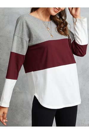 YOINS Women Long Sleeve - Multicolor Striped Round Neck Long Sleeves Tee