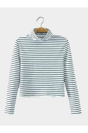 YOINS Simple Stripe Long Sleeve Top in White