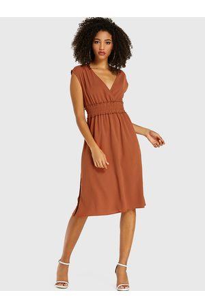 YOINS Elastic Waisted Deep V Neck Sleeveless Dress