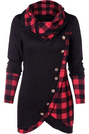 YOINS Button Design Patchwork Turtleneck Long Sleeves Knit Top