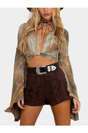 YOINS Tie Dye Wrap Random Print Oversized Bell Sleeves Crop Top