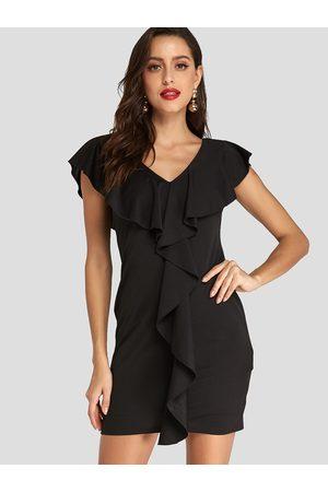 YOINS Women Bodycon Dresses - Ruffle Trim Zip Design Bodycon Party Mini Dress