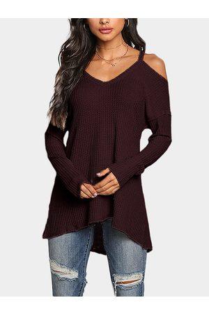 YOINS Cold Shoulder Long Sleeves Knitted Top