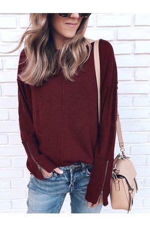 YOINS Women Long Sleeve - Zip Design Round Neck Long Sleeves Knit Top