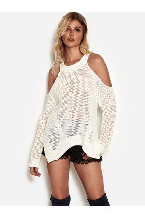 YOINS Women Jumpers - Hollow Design Cold Shoulder Sweater With Irregular Hem