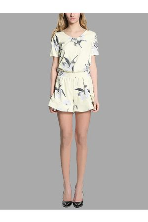 YOINS Floral Print Round Neck Short Sleeve Playsuit with Elastic Waistband