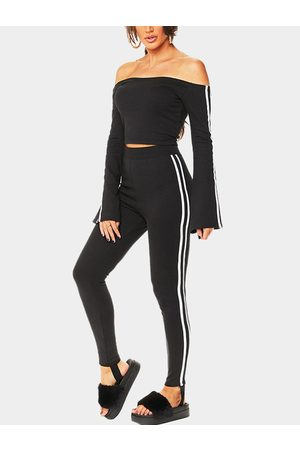 YOINS Women Tracksuits - Active Off Shoulder Stripe Pattern Tracksuit in