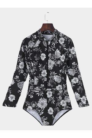 YOINS Black Floral Pint Long Sleeve + Zipper Front Swimwears