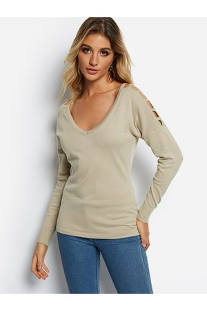 YOINS V-neck Long Sleeves Cut-out Design Sweater
