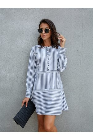 YOINS Stripe Front Button Long Sleeves Shirt Dress