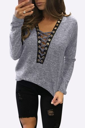 YOINS Sexy Deep V-neck Lace-up Front Casual T-shirts in Light
