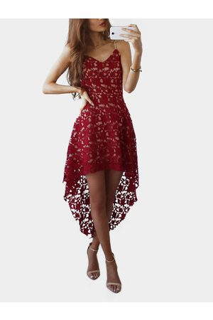 YOINS Lace V-neck Irregular Hem Dress